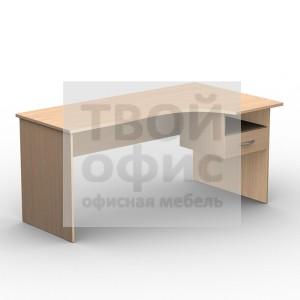 Стол письменный эргономичный правый с подвесной тумбой