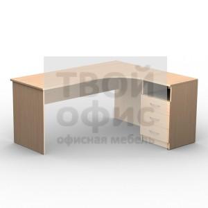Стол письменный эргономичный правый с приставной тумбой